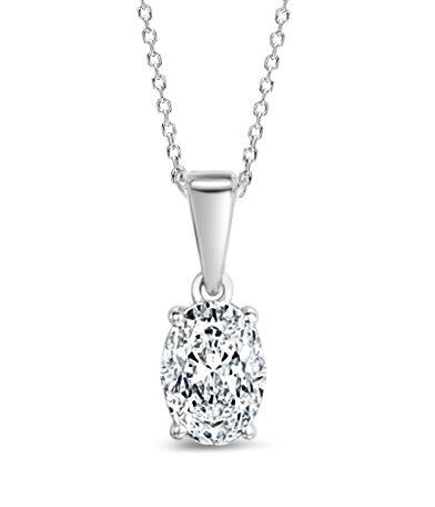 Enstenshänge med oval diamant