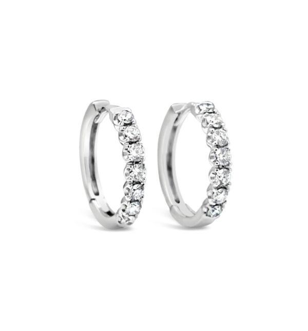 Diamantörhängen creol i vitguld till och diamanter