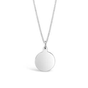 Smycken med gravyr. Vitguldsbricka 13mm