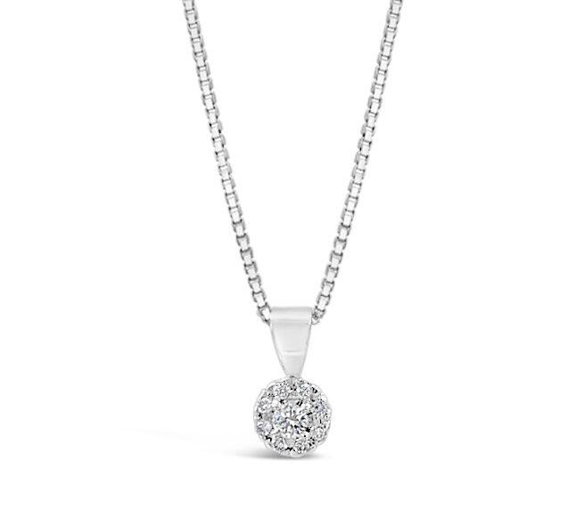 Diamanthänge av modellen halo i vitguld