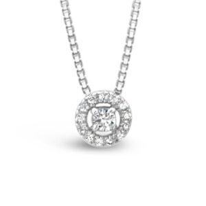 Diamanthänge i vitguld. Halo modell
